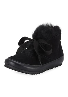 Pedro Garcia Jain Lace-Up Fur Sneakers