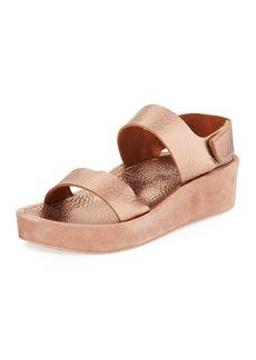 Pedro Garcia Lacey Metallic-Leather & Suede Flatform Sandals