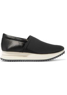 Pedro Garcia Otylia Faille And Satin Slip-on Sneakers