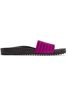 Pedro Garcia Amparo quilted satin and leather slides