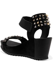 Pedro Garcia Fortuna stud-embellished leather and suede wedge sandals