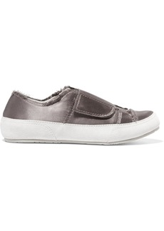 Pedro Garcia Palmira suede-trimmed frayed satin sneakers