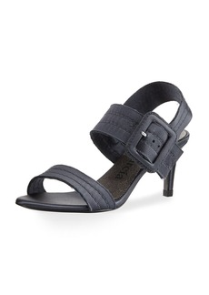 Pedro Garcia Querly Stitched Satin Mid-Heel Sandal