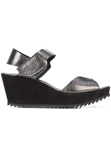 Pedro Garcia ridged sole wedge sandals - Black