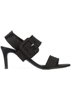 Pedro Garcia stitched strap buckle detail sandals - Black