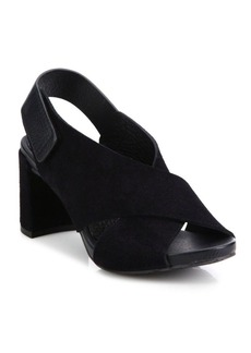 Pedro Garcia Wara Crisscross Leather Block Heel Slingbacks