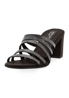 Pedro Garcia Xaki Multi-Strap Block-Heel Shimmer Slide Sandal