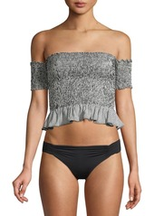 Peixoto Nina Smocked Cotton Blend Off-The-Shoulder Bikini Top