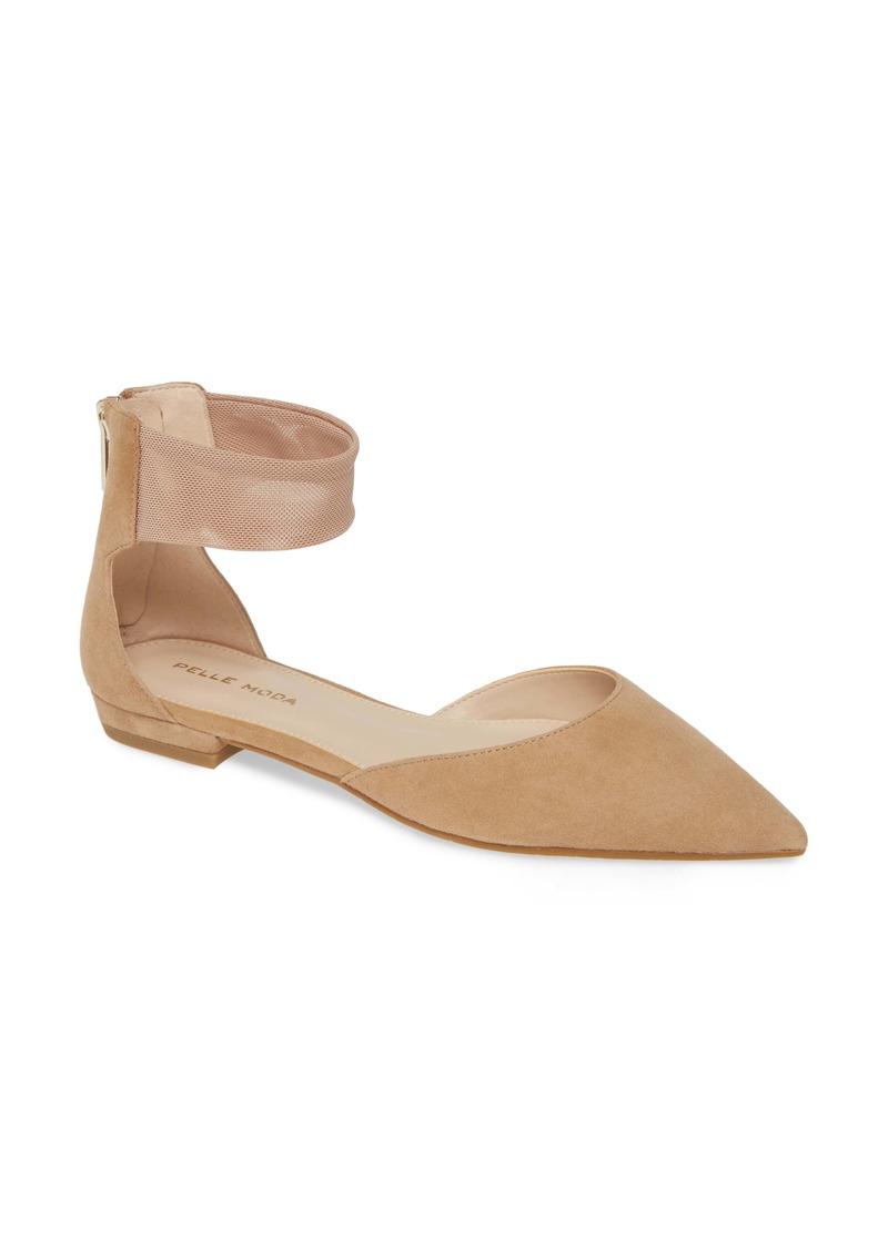 Pelle Moda Dale Ankle Strap Pointed Toe Flat (Women)