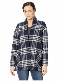 Pendleton Collarless Plaid Coat