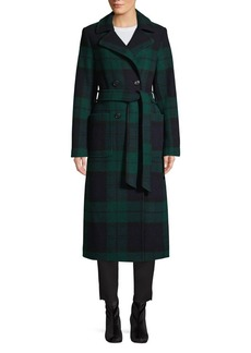 Pendleton Aurora British Plaid Reefer Double-Breasted Wrap Coat