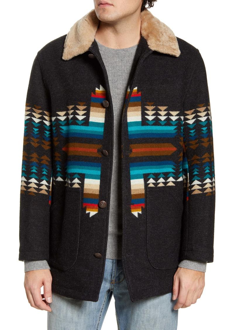 Pendleton Brownsville Wool Blend Jacket with Genuine Shearling Collar