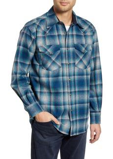 Pendleton Canyon Regular Fit Plaid Snap-Up Wool Flannel Shirt Jacket