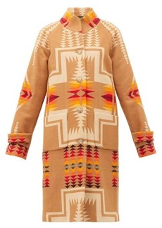 Pendleton Harding geometric-intarsia wool-blend coat