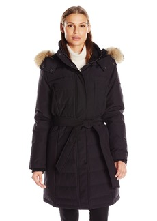 Pendleton Heritage Women's Williamsburg Long Coat With Coyote Fur Trim Hood and Tie Belt  M