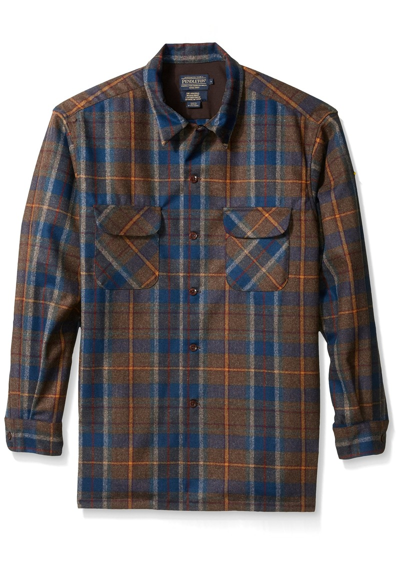 Pendleton Men's Classic-Fit Board Shirt Brown/Red Plaid MD