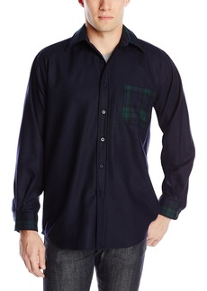 Pendleton Men's Contrast Plaid Fitted Shirt Solid Navy/Green