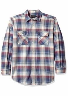 Pendleton Men's Long Sleeve Button Front Beach Shack Shirt Indigo/red Plaid XL