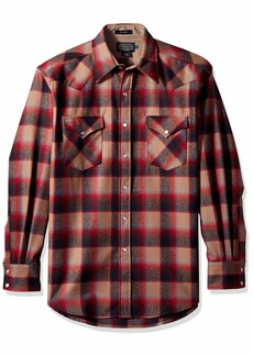 Pendleton Men's Long Sleeve Button Front Classic-fit Canyon Shirt red/tan Ombre MD