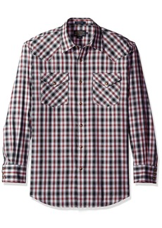 Pendleton Men's Long Sleeve Button Front Classic-fit Frontier Shirt black/Grey/Red Herringbone SM