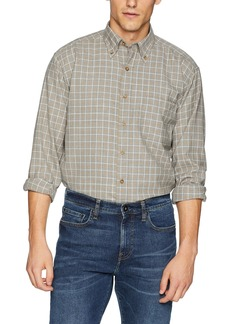 Pendleton Men's Long Sleeve Button Front Classic-fit Sir Shirt Silver/tan Windowpane SM