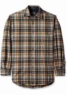 Pendleton Men's Long Sleeve Button Front Classic-fit Trail Shirt tan/Grey Mix Plaid SM