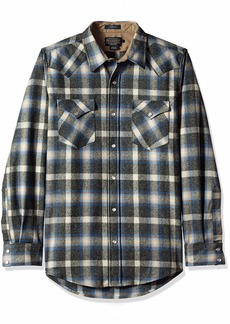Pendleton Men's Long Sleeve Button Front Fitted Canyon Shirt Oxford Mix/Blue/tan Plaid SM