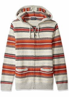Pendleton Men's Serape Stripe Hooded Sweater red tan XL