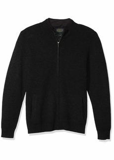 Pendleton Men's Shetland Full Zip Faux Suede Collar Cardigan Sweater black Heather SM