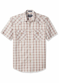 Pendleton Men's Short Sleeve Button Front Frontier Shirt red/Grey Plaid