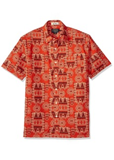 Pendleton Men's Short Sleeve Button Front Surf Print Shirt red Island Bandana LG