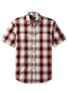Pendleton Men's Short Sleeve Dressy Western Shirt red/Black Diamond Plaid LG