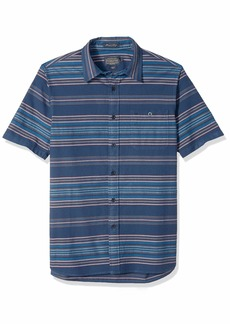 Pendleton Men's Short Sleeve Fitted Kay Street Stripe Shirt Indigo LG