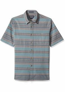 Pendleton Men's Short Sleeve Fitted Kay Street Stripe Shirt Silver Pine LG