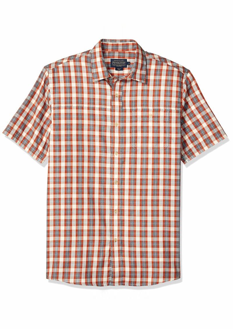 Pendleton Men's Short Sleeve Tabor Herringbone Shirt Rust Grey Heather LG