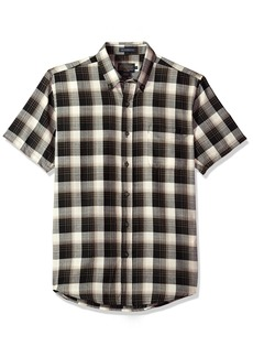 Pendleton Men's Short Sleeve Wool-lin Shirt Black/tan Plaid MD