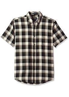 Pendleton Men's Short Sleeve Wool-lin Shirt Black/tan Plaid XL