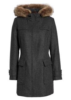 Pendleton Portland Wool Duffle Coat with Genuine Fur Trim