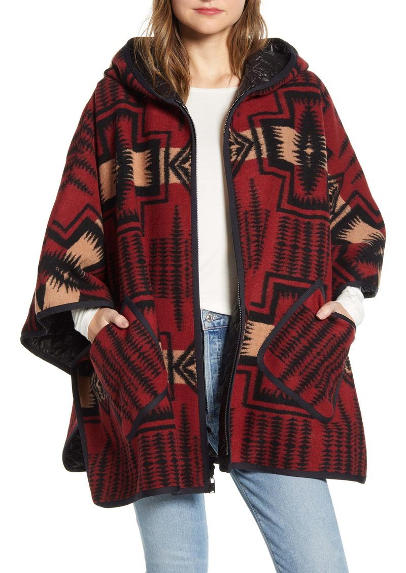 Pendleton Reversible Wool Blend Zip Up Poncho
