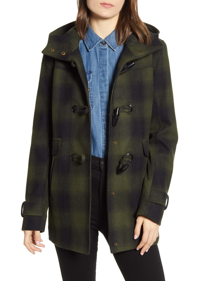 Pendleton Roslyn Plaid Wool Blend Duffle Coat