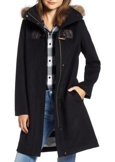 Pendleton St Marie Wool Hooded Coat with Genuine Raccoon Fur Trim