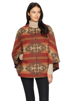 Pendleton Women's Aurora Wool Jacquard Zip Front Cape Broken Arrow M