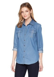 Pendleton Women's Embroidered Cotton Chambray Shirt Medium wash LG