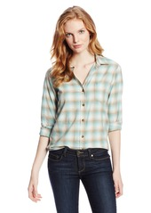 Pendleton Women's Felicia Flannel Shirt Aqua Sea Oxford Tan Heather Plaid