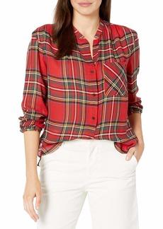 Pendleton Women's Helena Mandarin Collar Shirt red Tartan Plaid XS