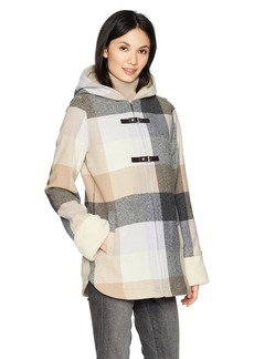 Pendleton Women's Hooded Zip Front Toggle Wool Coat  MD
