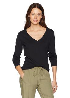 Pendleton Women's Long Sleeve Cotton Rib V-Neck Tee  L