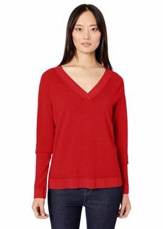 Pendleton Women's Long Sleeve Magic Wash Merino V-Neck Sweater Aurora red MD