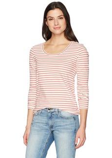 Pendleton Women's Long Sleeve Pima Cotton Stripe Tee Marshmallow/Hibiscus XL