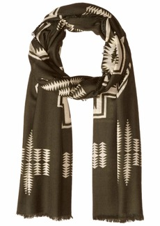 Pendleton Women's Oversized Featherweight Wool Scarf harding Army